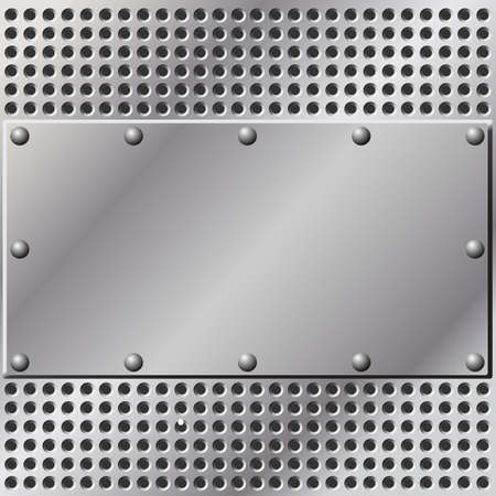 A Metal Background with Mesh and Rivets Stock Vector - 7086043