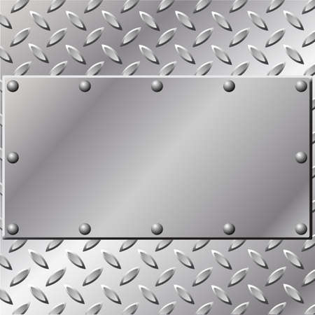 A Metal Background with Tread and Rivets Vector