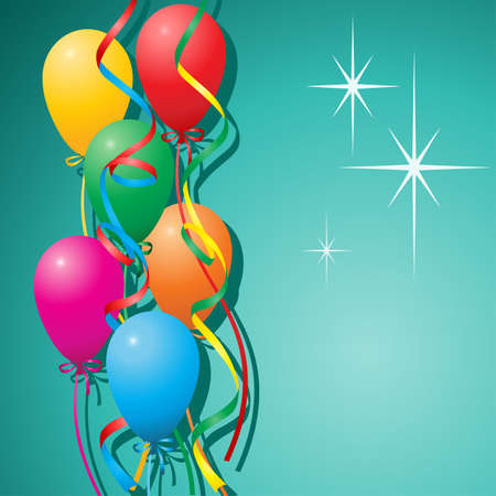 A Balloons Background with Streamers Stock Vector - 7086036