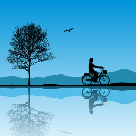 A  Landscape with Bicycle Stock Vector - 7086045