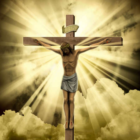 jesus cross: Jesus Christ on the Cross with Clouds