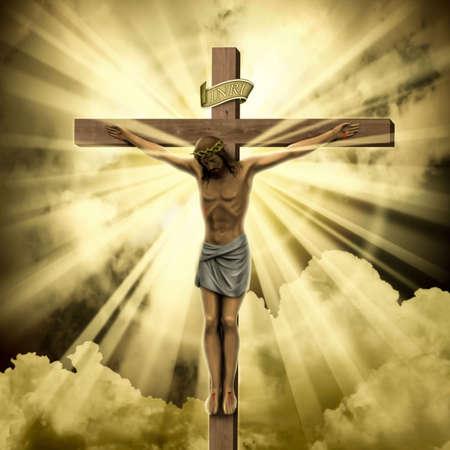 Jezus Christus aan het kruis met wolken  Stockfoto