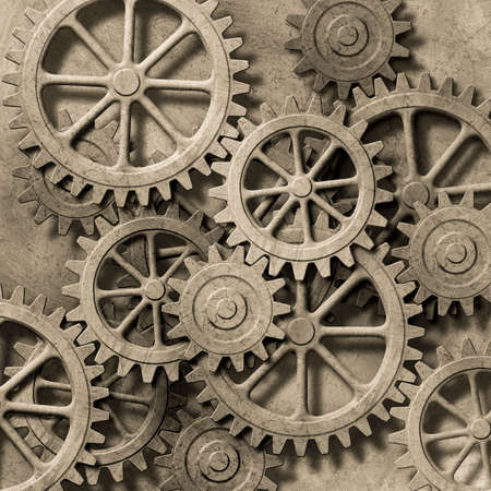 metal gears: A Mechanical Background with Gears and Cogs Stock Photo