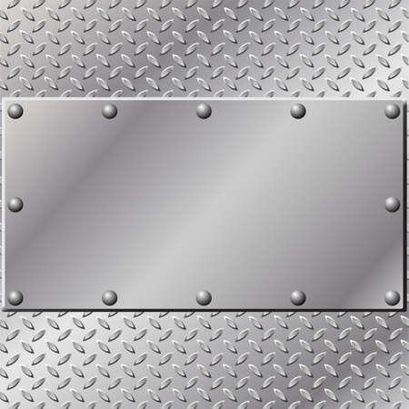 diamondplate: Un background di metallo con battistrada e rivetti  Vettoriali