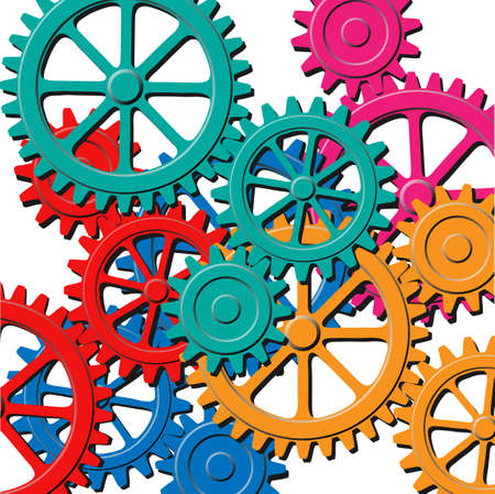 A Mechanical Background with Gears and Cogs 向量圖像