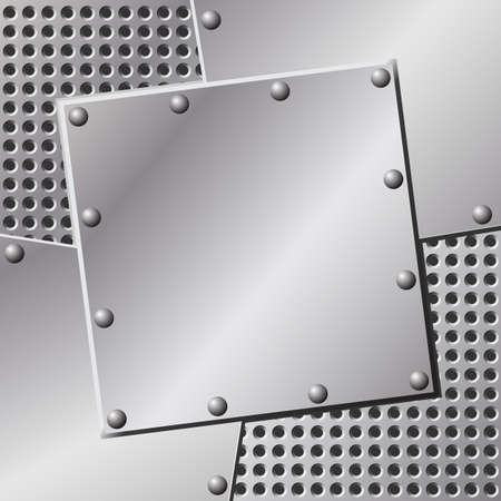 A Metal Background with Holes and Rivets Stock Vector - 7256412