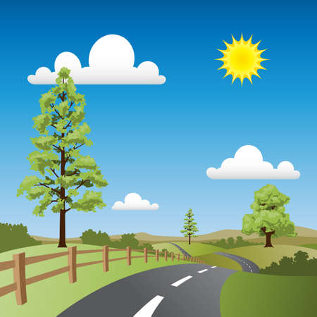 A Country Landscape with Road and Trees Stock Vector - 7256408