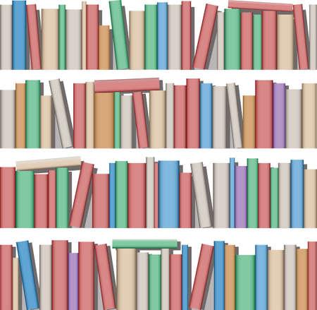多くの棚の本  イラスト・ベクター素材