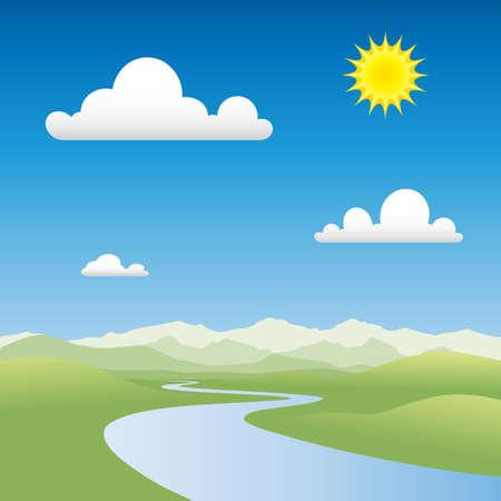 Een Country landschap met rivier en bergen  Vector Illustratie