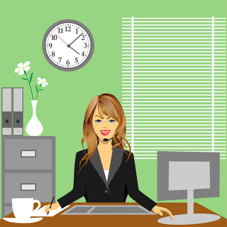 promotion girl: A Woman in Office Sitting at Desk