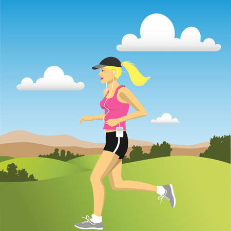 outdoor fitness: A Woman jogging in the Countryside