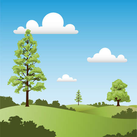 A Country Landscape with Trees and Clouds Stock Vector - 7419775