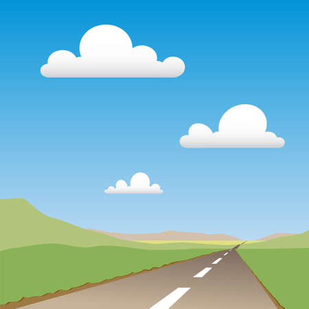 desert road: A Country Road Disappearing  in to Distance Illustration