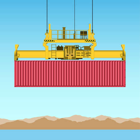 dockyard: A Freight Containers on Crane at the Docks Illustration