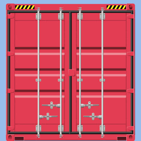 Closeup of  a Red Freight Container Vector