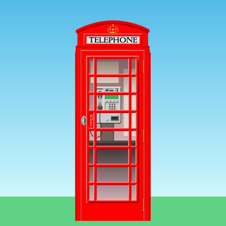 A Red British Phone Booth Stock Vector - 7458102