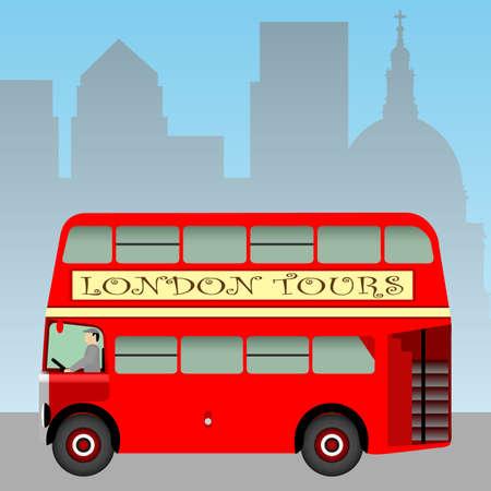 brytanii: Czerwień London Bus Doubledecker  Ilustracja