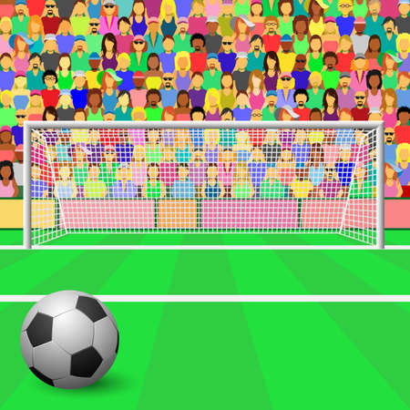 football pitch: A Soccer Goal with ball and Crowd in Stadium