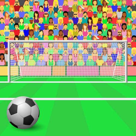 Een voet bal doel met bal en menigte in het stadion  Vector Illustratie