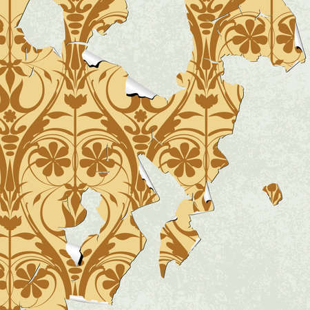 A Grunge Background with Old Peeling Wallpaper Stock Vector - 8091010
