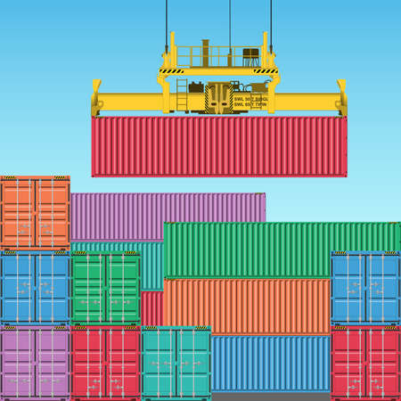 Stacks of Freight Containers at the Docks with Crane Vector