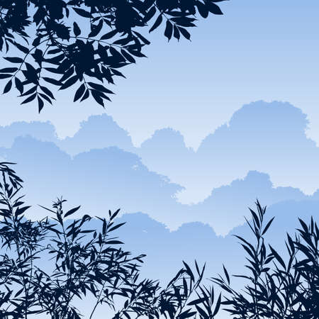 A Blue Forest Landscape with Trees Vector
