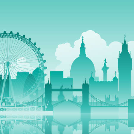 london tower bridge: A Blue Vector Cityscape of London Illustration