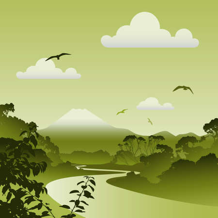 A Green Forest Landscape with River, Trees and Volcano Stock Vector - 8090993