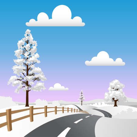 A Winter Landscape with Snow and Road Stock Vector - 8090994