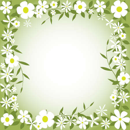 floral border frame: A Floral Border with White Flowers and Leaves Illustration