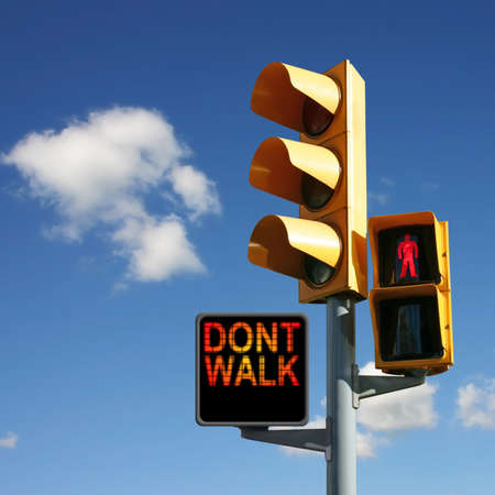 dont walk: Traffic Lights with Dont Walk and Red Man