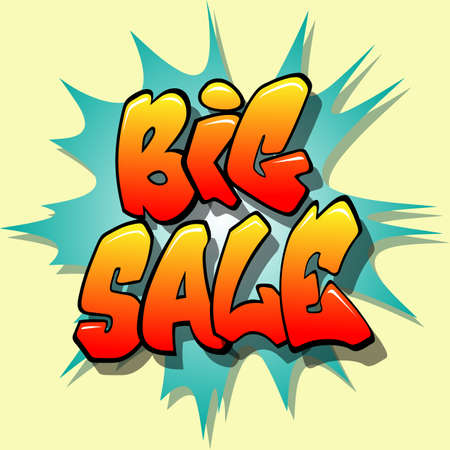 A Vector Big Sale Sign, Label, Sticker, Tag with Background Flash Stock Vector - 8588656