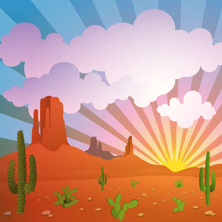 cactus desert: A Vector Desert Landscape with Mountains and Cactus