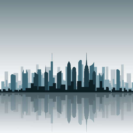 A Vector Cityscape with Reflection Stock Vector - 8588652