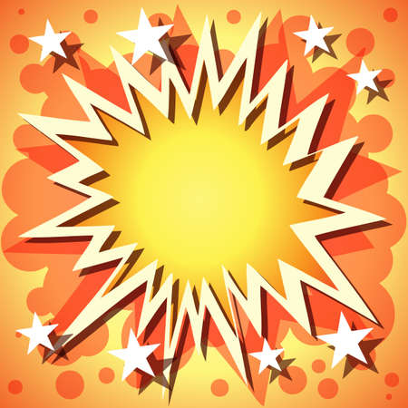 A Vector Comic Book Explosion Background with Stars Vector