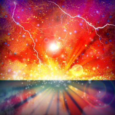 A Colorful Space Star Background with Lightning Flashes Stock Photo - 8588663