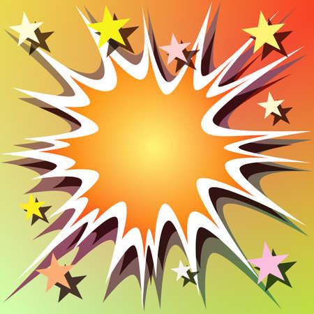 explosie: De achtergrond van een strip boek explosie met sterren Stock Illustratie