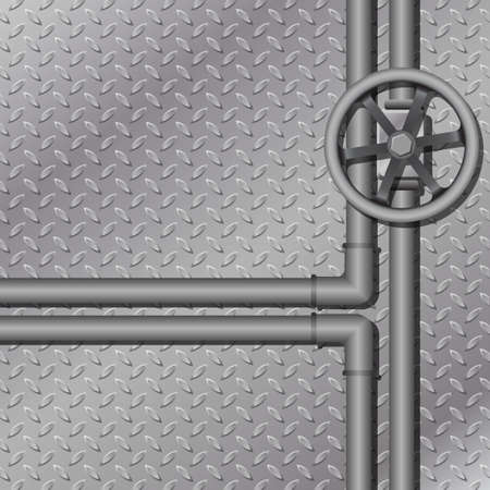 diamondplate: An Industrial Metal Background with Pipes Illustration