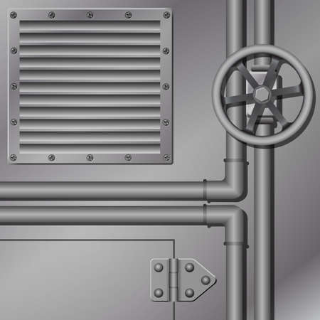 vent: An Industrial Metal Background with Pipes Illustration
