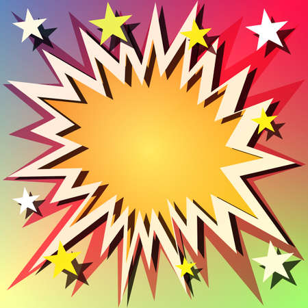 Comic Book Explosion Background with Stars Vector