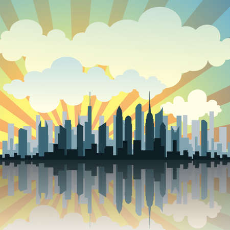 A Cityscape with Reflection Stock Vector - 8790252