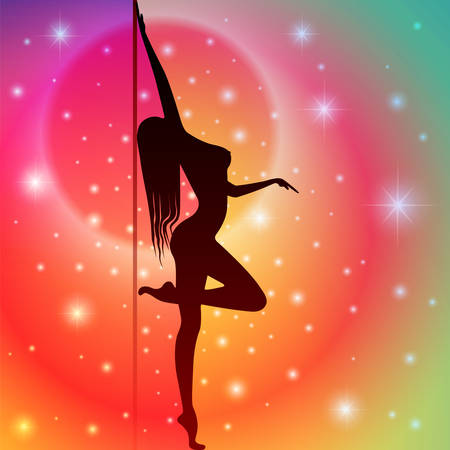 Sexy Pole Dancer with Star Background 向量圖像