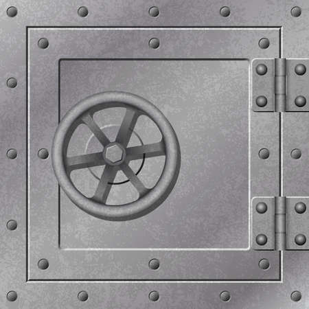 A Steel Strong Box Door with Hinges and Rivets Vector