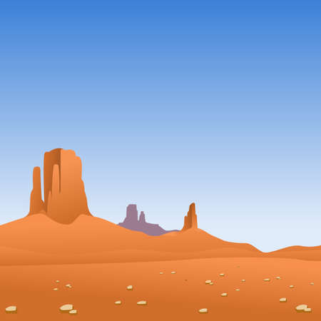Desert Landscape with Mountains and Blue Sky
