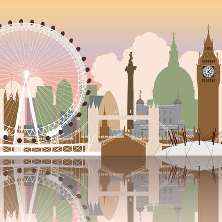 london tower bridge: A Vector Cityscape of London with Reflection