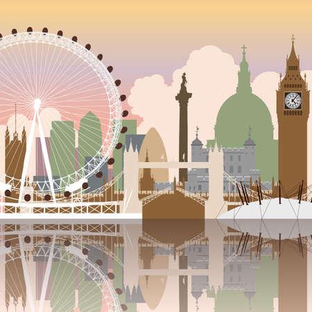 brytanii: Pejzaż wektora Londynu z refleksji