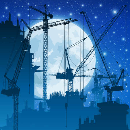 Lots of Tower Cranes on Construction Site with Night Sky and Moon Vector