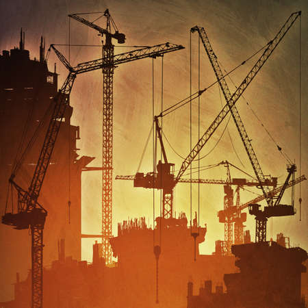 cranes: An Artistic Vintage Grunge Illustration with Lots of Tower Cranes on Construction Site