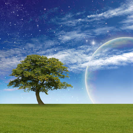 country landscape: A Fantasy Landscape with Tree, Clouds, Stars and Planet Stock Photo