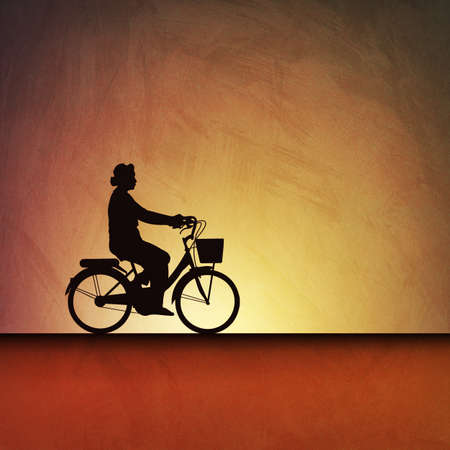 An Artistic Vintage Grunge Illustration Landscape with a Bicycle Stock Illustration - 9512278